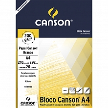 BLOCO DESENHO A-4 200GR BRANCO C/20FLS - CANSON