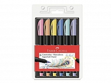 CANETA F.CASTELL C/6 CORES PASTEL BRUSH SUPER SOFT
